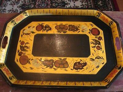 Beautiful Vintage Metal Toleware Hand Painted Large Tray