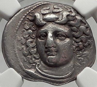 LARISSA in THESSALY 356 BC Nymph / Horse Silver Ancient Greek Coin NGC ChVF RARE