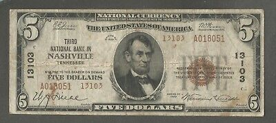 1929 Type 2 $5 Third National Bank in Nashville Tennessee Charter 13103