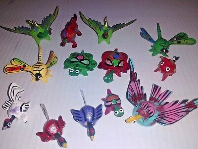 Mexican Bobbleheads Bobble Heads Painted Insects Bugs Butterflies Tejoruco Seed