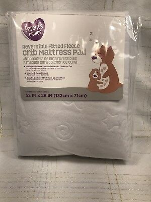 Parents Choice Waterproof Reversible Fitted Fleece Baby Infant Crib Mattress Pad