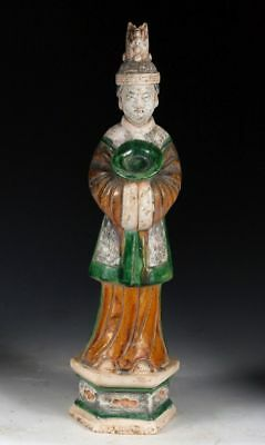 *SC*HIGH QUALITY CHINESE POTTERY FIGURE OF A FEMALE ATTENDANT, Ming Dynasty