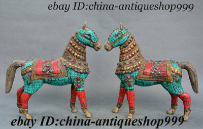 Old Chinese Purple Bronze Inlay Turquoise Gem Horse Feng shui Wealth Statue Pair