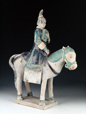 *SC* XL FEMALE POTTERY HORSERIDER, ATTENDANT w. BOOK, CHINA MING DYNASTY!
