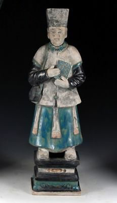 *SC*AN XXL CHINESE POTTERY FIGURE OF A MALE ATTENDANT, Ming Dynasty