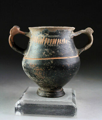 *SC*RARE ETRUSCAN SMALL VOLUTE POTTERY KRATER VESSEL, 4th.-5th. century BC!