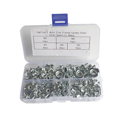 90pcs M3 M4 M5 M6 M8 Four-Pronged Tee Nuts Plated Carbon Steel Nuts Furniture