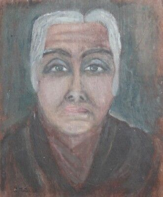 Antique oil painting abstract woman portrait signed