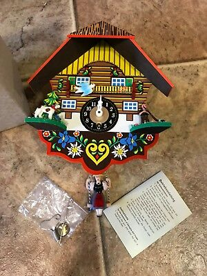 Vtg. Cuckoo style Clock German Girl on a Swing Hunter & Dog With Key & Box