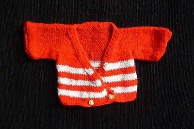 Baby clothes UNISEX GIRL BOY premature/tiny<6lb/2.7kNEW! red/white soft cardigan