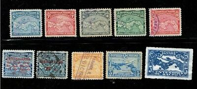 1930 - 41 PANAMA - Early airmail lot of 10 stamps  AIRPLANE over Panama Map VF