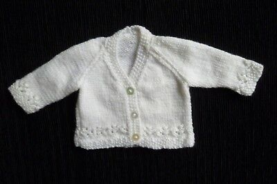 Baby clothes UNISEX GIRL BOY premature/tiny<6lbs/2.7kg NEW! white soft cardigan