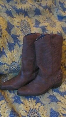 Wrangler Tex hi Mens Brown Nubuck Leather pull on cowboy pointy toe Boots Sz 8