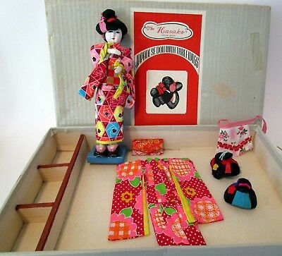 Vintage Japanese Doll with 3 Wigs in box - Complete Set - Hanako - 1960's