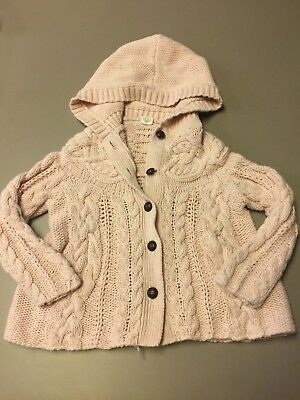 Toddler Sweater EGG Baby Girls Cable Knit Cardigan Size 3T Light Pink