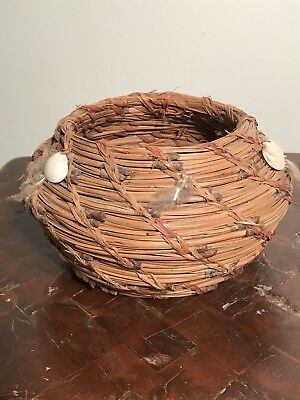 Vintage Native American Pine Needle Shell and Feather Woven Basket