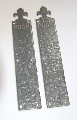 "Pair of old reclaimed cast/wrought iron gothic door finger plates ""PUSH"""