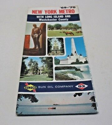 New York Metro w/ Long Island & Westchester County Driving Map Vintage SUNOCO
