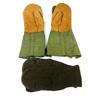 US Army WWII Schoenfeld & Wolf Inc Trigger Finger Mittens Leather Gloves Winter