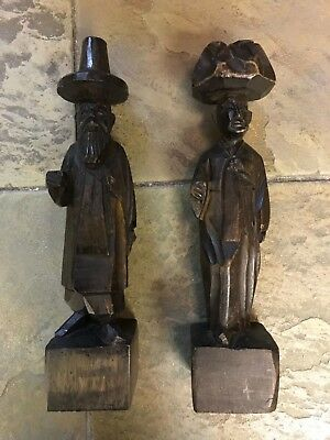 2  Vintage Hand Carved Wooden Asian Figurines, Primitive Carving, Oriental