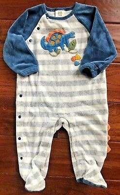 absorba grey and white stripe dinosaur velour footed romper💚 size 6-9 months