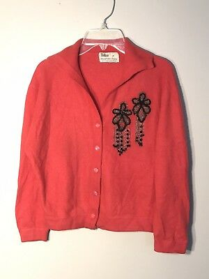 VTG 50s 100% Dalton Pure Virgin Cashmere Pin-Up Cardigan Coral Marshall Field S