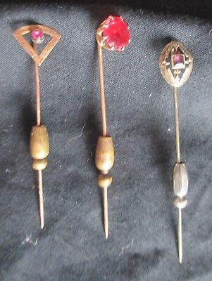 Hat Pins Lot of 3 Antique Gold & Silver 10k