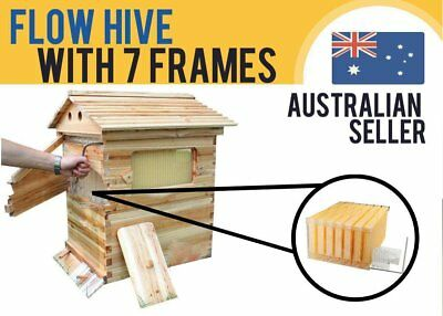 New Wooden Beekeeping Beehive Brood House Box +7pcs Auto Flow Honey Hive Fra FRE