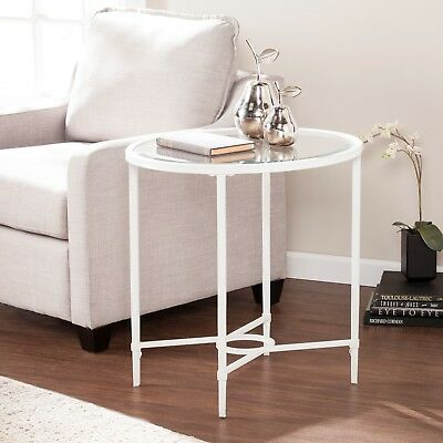 CET21963  Metal/Glass Oval Side Table - WHITE
