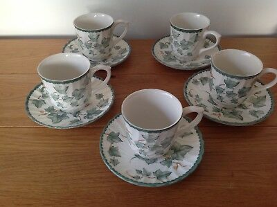 Vintage BHS Country Vine Cups & Saucers x 5.