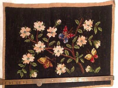 Vintage Hand Embroidered Floral Panel With Butterflies