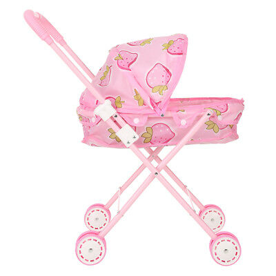 Baby Kid Doll Stroller Carriage Foldable 12inch Mini Stroller Toy Pink R2N5