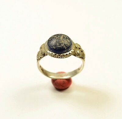 Interesting Medieval Period Silver Ring With Blue Stone On Bezel