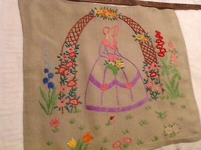 Vintage Embroidered Crinoline Lady Cushion Cover