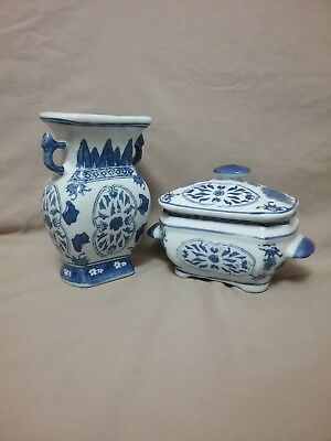 Blue And White Porcelain Vase With Matching Trinket/Side Dish W/lid Marked