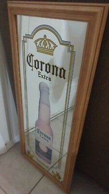 Vintage Corona Extra Beer Picture Mirror Sign Wood Frame Corona Display