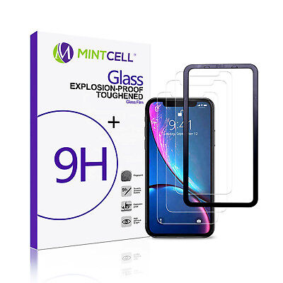3-Pack Apple iPhone XR (6.1 inch) Tempered Glass Screen Protector Install Tray