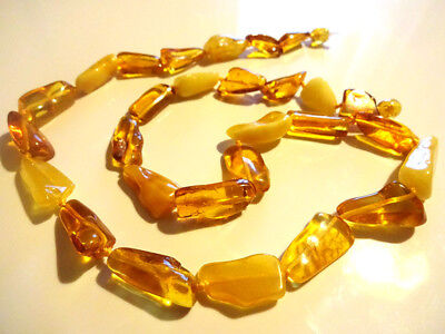 Genuine BALTIC Butterscotch & Honey AMBER Necklace With Insect Inclusions