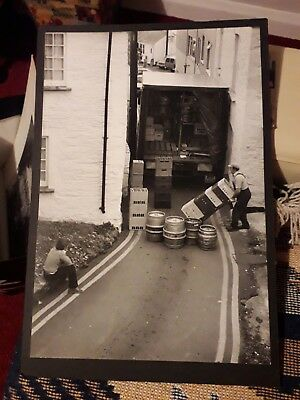 Black White Large Photo On Card St Mawes Beer Dray Delivery