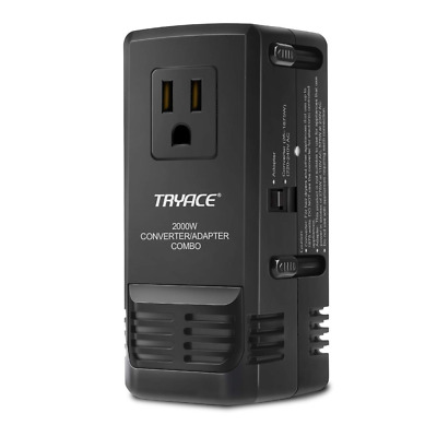 Travel Power Converter and Adapter Combo 220/240V to 110/120V 2000W-Upgraded