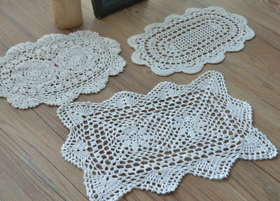 3 Crochet White Oval Doilies Lot French Country Rustic Wedding Table Runners