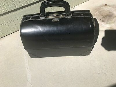 """Vintage """"schell...emdee"""" Black Leather Doctor Bag: Twin Grips, Hinged Sides, Vgc"""