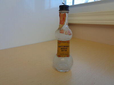 1937 Vintage Empty Miniature Liquor Bottle-Kent's Imperial Distilled Dry Gin