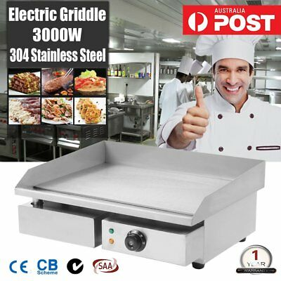 Electric Griddle Grill Hot Plate 3000W 304 Stainless Steel BBQ Large Counter NEW