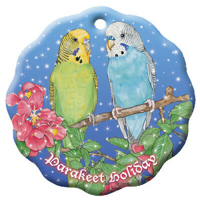 Parakeet Budgie Parrot Holiday Porcelain Christmas Tree Ornament