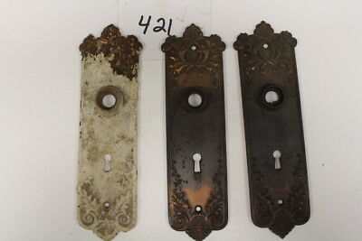 #421 – Lot of 3 Ornate Door Knob Back Plates / Escutcheons, 19th C.