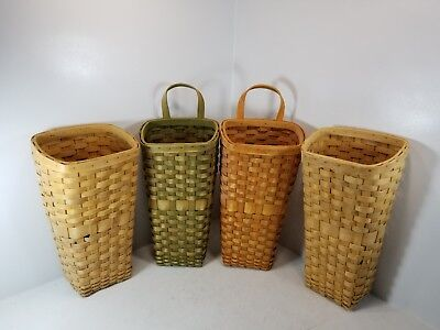 "Four 11"" x 6"" x 5"" Multi Color Wicker Baskets"