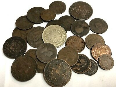 25 x 1800's dates World copper & bronze coins, Fun 1800s Foreign Collector Lot#2