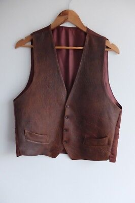 Vintage Brown leather waist coat | Made in England | XL | Brown