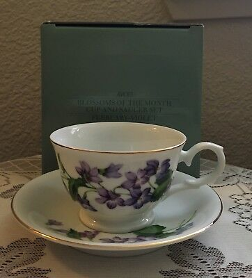 Vintage Avon Blossoms Of The Month Cup & Saucer Set, February Violet,Teacup,1991